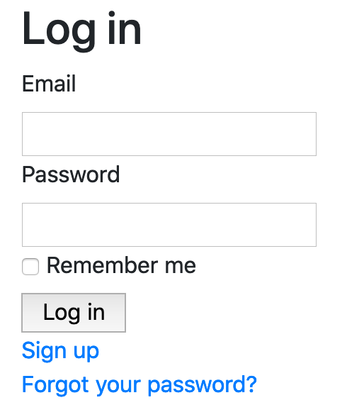 unstyled login form